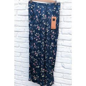 Silk wide leg high rise crop pants